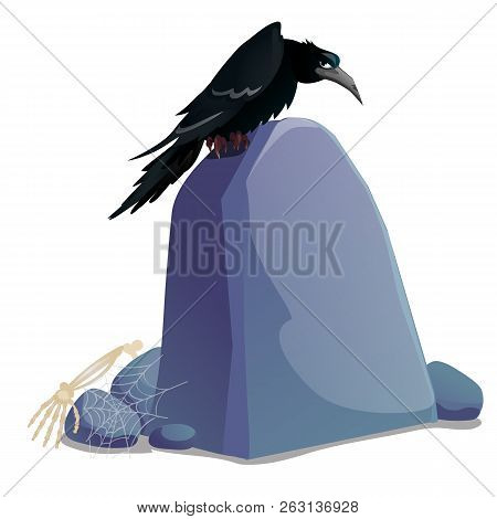 Black Crow Sitting On Grave Stone Plate With Blank Surface And Space For Your Text Isolated On White