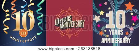 10 Years Anniversary Celebration Set Of Vector Icons, Logo. Template Design Element With Golden Numb
