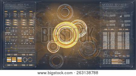 Hud Radar Or Set. Abstract Futuristic Digital Elements. Hud Futuristic Element. Web Icon, Symbol, El