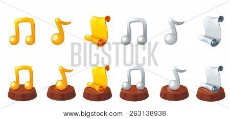 Gold And Silver Award. Scroll Award. Music Award. Gold Music Note Trophy. Gold And Silver Icons Set.