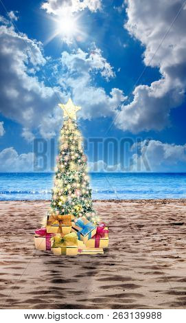 Decorated Christmas tree on sandy beach over sea with suny sky