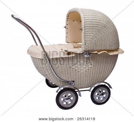Vintage toy doll buggy isolated on white background