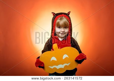 Trick Or Treat. Happy Halloween With Pumpkins On Red Background. Witch Hat. Halloween Party. Happy H