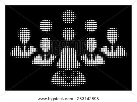 Halftone Pixelated Staff Team Icon. White Pictogram With Pixelated Geometric Structure On A Black Ba