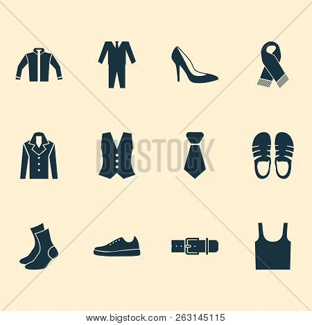 Garment icons set with sleeveless tank, necktie, gumshoes and other singlet elements. Isolated  illustration garment icons. poster