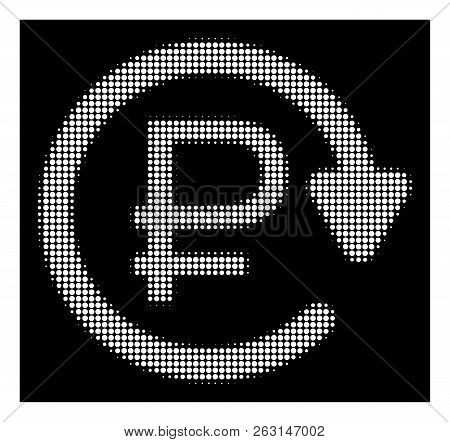Halftone dotted rouble recurring payment icon. White pictogram with dotted geometric pattern on a black background. Vector rouble recurring payment icon composed of rounded dots. poster