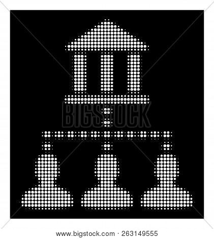 Halftone Dotted Bank Building Client Links Icon. White Pictogram With Dotted Geometric Pattern On A