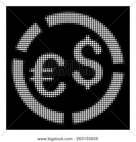 Halftone Pixelated Currency Diagram Icon. White Pictogram With Pixelated Geometric Pattern On A Blac