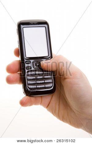 Frau hält einen Handy