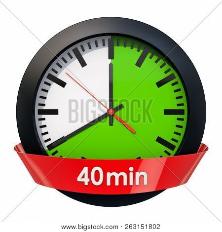 Clock Face With 40 Minutes Timer. 3d Rendering Isolated On White Background
