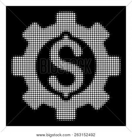 Halftone Pixel Development Cost Icon. White Pictogram With Pixel Geometric Structure On A Black Back