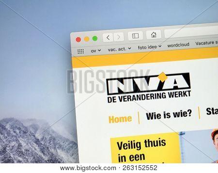 Brussels, Belgium - October 13, 2018: Website Of The New Flemish Alliance (dutch: Nieuw-vlaamse Alli
