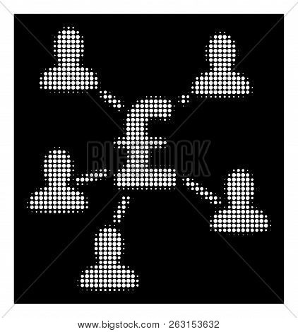 Halftone Pixel Pound Payment Clients Icon. White Pictogram With Pixel Geometric Pattern On A Black B