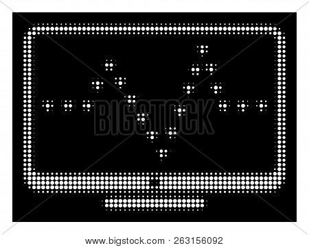 Halftone Dotted Monitor Dotted Pulse Icon. White Pictogram With Dotted Geometric Pattern On A Black