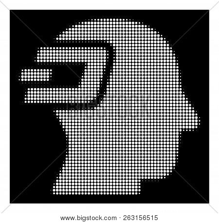 Halftone Pixelated Dash Imagination Icon. White Pictogram With Pixelated Geometric Structure On A Bl