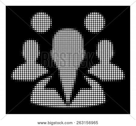 Halftone Dotted Staff Icon. White Pictogram With Dotted Geometric Pattern On A Black Background. Vec
