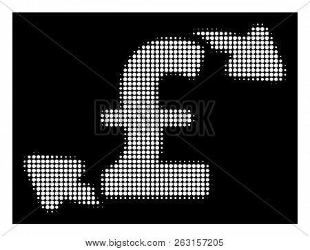 Halftone Pixel Pound Cash Outs Icon. White Pictogram With Pixel Geometric Pattern On A Black Backgro