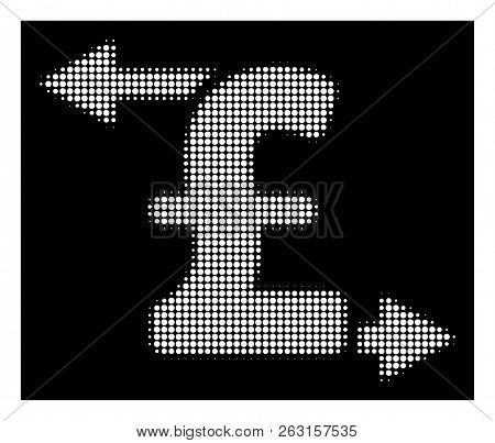 Halftone Dotted Pound Payouts Icon. White Pictogram With Dotted Geometric Pattern On A Black Backgro