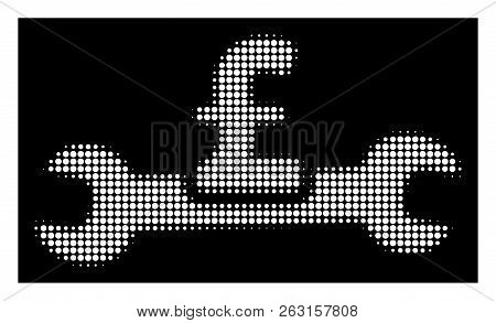 Halftone Pixelated Service Pound Cost Icon. White Pictogram With Pixelated Geometric Structure On A