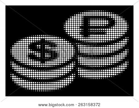 Halftone pixelated rouble and dollar coins icon. White pictogram with pixelated geometric pattern on a black background. Vector rouble and dollar coins icon combined of round pixels. poster