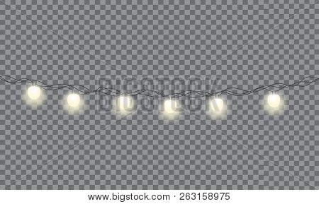 Set Of Xmas Glowing Garland. Christmas Lights Isolated On Transparent Background. Eps 10 Vector Illu