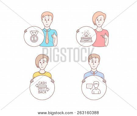 People Hand Drawn Style. Set Of Typewriter, Best Rank And Cashback Card Icons. Person Talk Sign. Ins