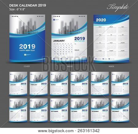 Set  Blue Desk Calendar 2019 Year Size  6 X 8 Inch Template-1