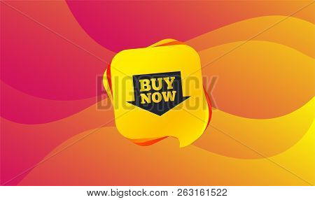 Buy Now Sign Icon. Online Buying Arrow Button. Wave Background. Abstract Shopping Banner. Template F