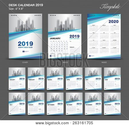 Desk Calendar 2019 Year Size  6 X 8 Inch Template, Blue Calendar 2019 Template, Set Of 12 Months, We