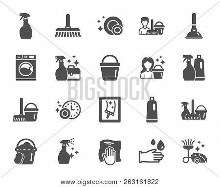 Cleaning Icons. Laundry, Sponge And Vacuum Cleaner Signs. Washing Machine, Housekeeping Service And