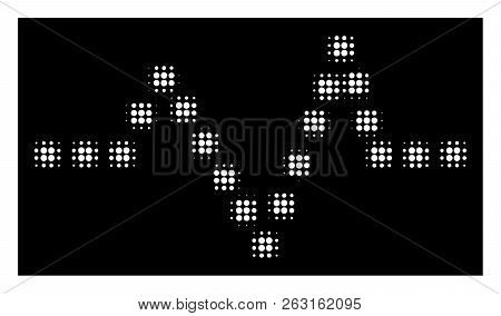 Halftone Pixel Pulse Chart Icon. White Pictogram With Pixel Geometric Structure On A Black Backgroun