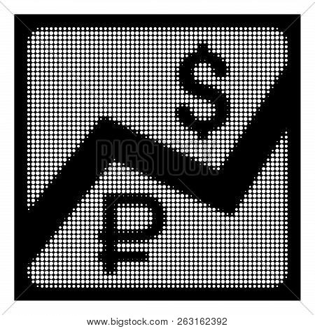 Halftone Pixel Rouble And Dollar Finances Icon. White Pictogram With Pixel Geometric Structure On A