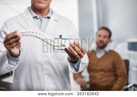 Adult Doctor Is Holding Realistic Layout Of Spine