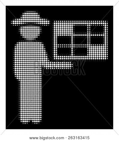 Halftone Pixelated Agent Schedule Icon. White Pictogram With Pixelated Geometric Pattern On A Black
