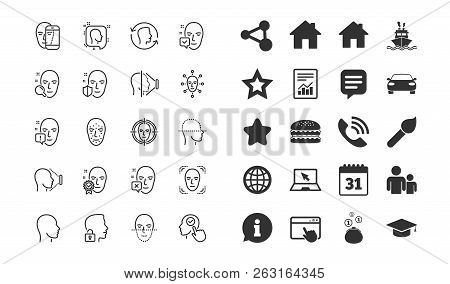 Face Recognition Line Icons. Set Of Faces Biometrics Detection, Scanning And Unlock System Linear Ic