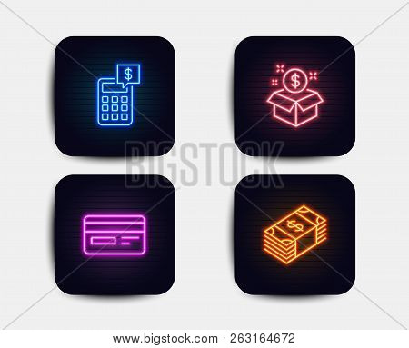 Neon Glow Lights. Set Of Post Package, Credit Card And Calculator Icons. Usd Currency Sign. Postbox,