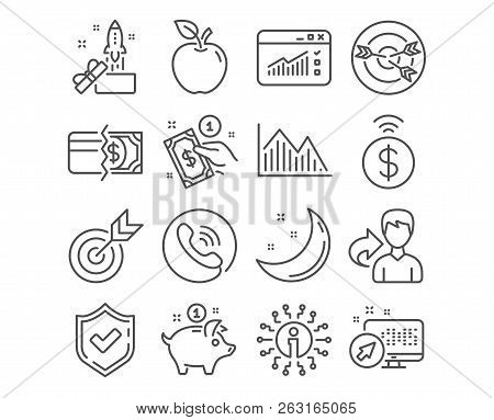 Set Of Target, Contactless Payment And Payment Method Icons. Investment Graph, Web Traffic And Innov