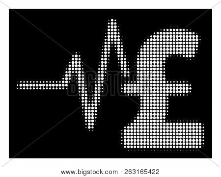 Halftone Pixelated Pound Financial Pulse Icon. White Pictogram With Pixelated Geometric Structure On