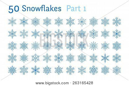 Blue Snowflakes Collection Isolated On White Background. Flat Line Snowing Icons Bundle, Cute Snow F