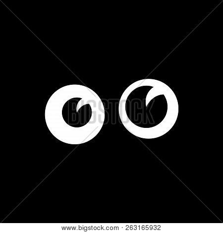 Cartoon Funny Eyes In Darkness Vector Illustration. Unknown Character Looks Out Of The Dark. Fun Pic
