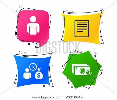 Bank Loans Icons. Cash Money Bag Symbol. Apply For Credit Sign. Fill Document And Get Cash Money. Ge