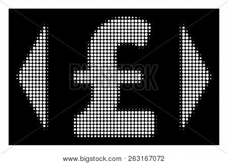Halftone Pixel Regulate Pound Price Icon. White Pictogram With Pixel Geometric Pattern On A Black Ba