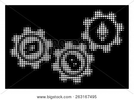 Halftone Pixel Cryptocurrency Conversion Gears Icon. White Pictogram With Pixel Geometric Structure