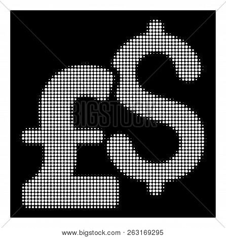 Halftone Pixelated Dollar And Pound Currency Icon. White Pictogram With Pixelated Geometric Structur