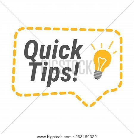 Quick Tips Icon. Flat Vector Illustrations On White Background