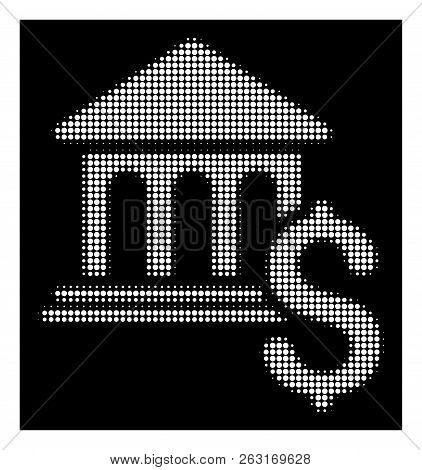 Halftone Dotted Pay Museum Icon. White Pictogram With Dotted Geometric Pattern On A Black Background