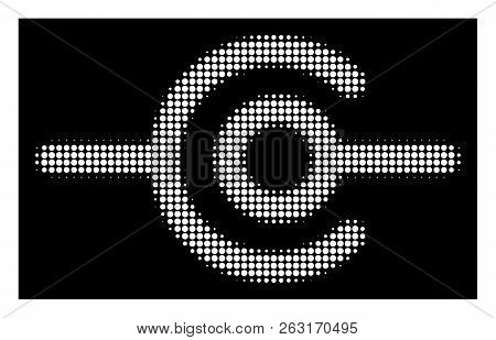 Halftone Dotted Wire Connection Icon. White Pictogram With Dotted Geometric Structure On A Black Bac