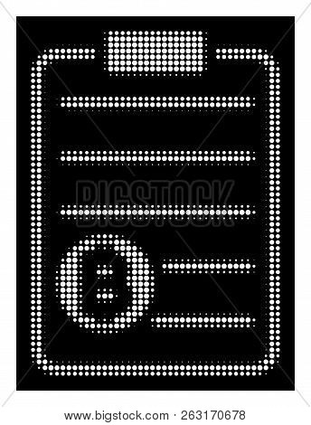 Halftone Pixelated Bitcoin Price List Icon. White Pictogram With Pixelated Geometric Pattern On A Bl