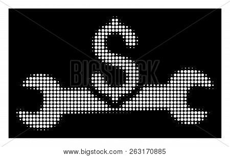Halftone Pixel Service Cost Icon. White Pictogram With Pixel Geometric Structure On A Black Backgrou