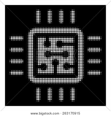 Halftone Pixel Cpu Circuit Icon. White Pictogram With Pixel Geometric Pattern On A Black Background.